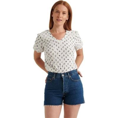 ラッキーブランド Lucky Brand レディース ブラウス・シャツ Vネック トップス Puff Sleeve V-Neck Embroidered Top White Multi