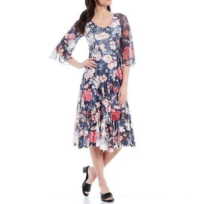 コマロフ レディース ワンピース トップス Bell Sleeve Floral Printed Charmeuse A-Line Midi Dress
