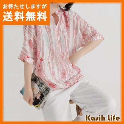 トップス 半袖シャツ プリントTシャツ ブラウス プルオーバー ラウンドネック 綿麻
