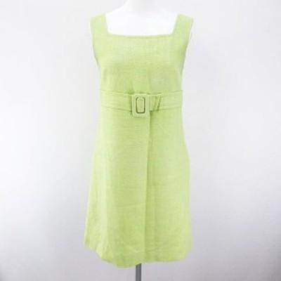 【中古】フォクシーブティック  FOXEY BOUTIQUE ノースリーブ 膝上 ミニ フレアワンピース 絹 シルク 38 緑 グリーン