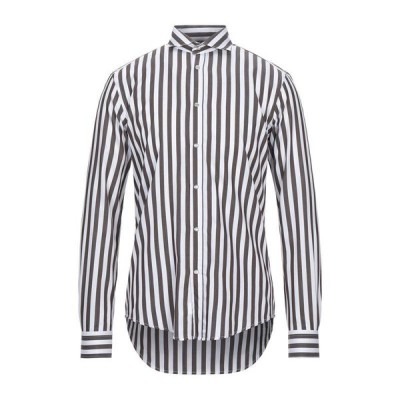 BRIAN DALES ストライプ柄シャツ  メンズファッション  トップス  シャツ、カジュアルシャツ  長袖 ダークブラウン