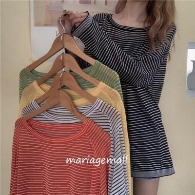 長袖Tシャツ レディース Tシャツ ボーダー柄 ゆったり 透明ニット 長袖 ブラウス 冷房対策 夏 日焼け対策 ニットTシャツ クルーネック