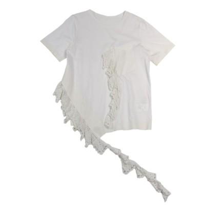 IRENE 2017SS Crochet Frill Pocket T-Shirt 半袖フリルTシャツ ホワイト サイズ:36 (元町店) 20071
