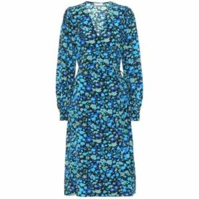 ガニー Ganni レディース ワンピース ミドル丈 ワンピース・ドレス Floral silk-blend midi dress Azure Blue