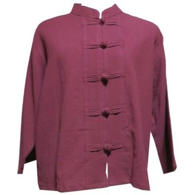 ブラウス アジアン衣料 前開きチャイナブラウス(赤) クリックポスト選択 送料200円