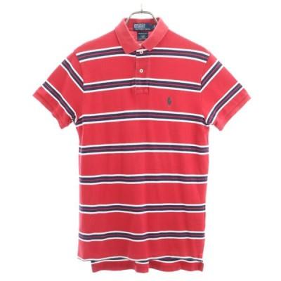 ポロラルフローレン ボーダー柄 半袖 ポロシャツ S 赤 POLO RALPH LAUREN 鹿の子 メンズ 古着 200613