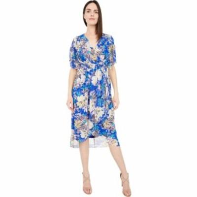 ロンドンタイムス London Times レディース ワンピース ワンピース・ドレス Spring Garden Mesh Surplus Shirred Flounce Dress Blue Mul