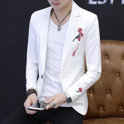 テーラードジャケットメンズサマージャケット白黒刺繍かっこいい長袖カジュアル大きいサイズメンズブレザー春アウター