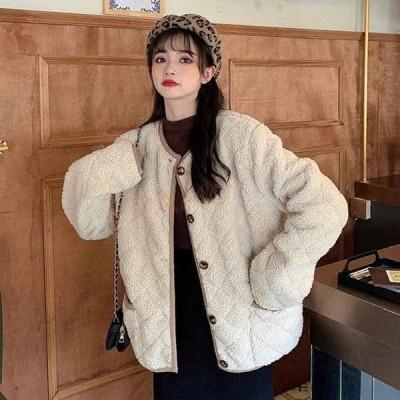 フリースジャケット レディース ノーカラー ジャケット モコモコ キルティングジャケット 厚手 冬ジャケット 暖かい ノーカラージャケット 通勤