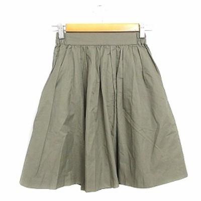 【中古】ティアラ Tiara スカート ギャザー ひざ丈 2 カーキ /AAM33 レディース