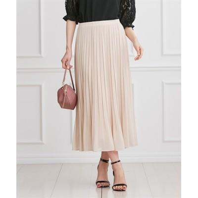 上品カラーのウエスト総ゴムシフォンプリーツスカート (ひざ丈スカート)Skirts