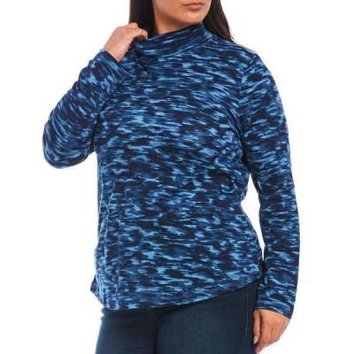 ウェストボンド レディース Tシャツ トップス Plus Size Fluid Mountains Long Sleeve Mock Neck Top Fluid Mountains