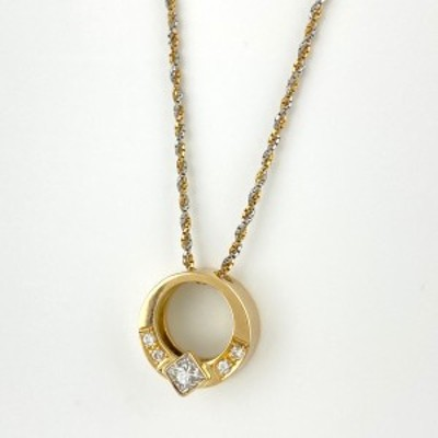 ダイヤモンド デザインネックレス K18 イエローゴールド プラチナ メレダイヤ  ネックレス YG Pt850 ダイヤモンド レディース 中古