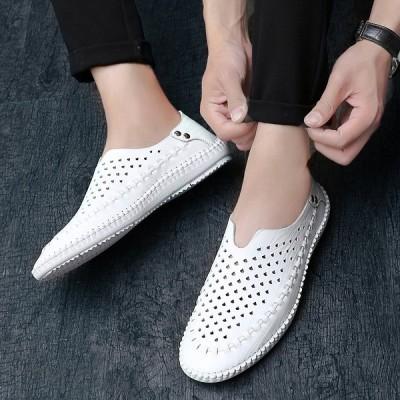 ドライビングシューズ メンズ ローファー 革靴 スリッポン ビジネスシューズ メンズ靴 カジュアル 紳士靴 メッシュ 軽量 通気性モカシン デッキシューズ