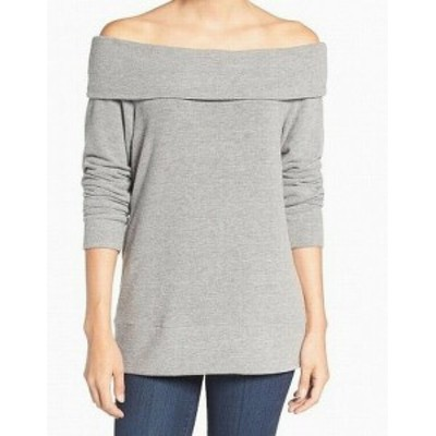 cupcakes and cashmere カップケーキアンドカシミア ファッション トップス Cupcakes and Cashmere Womens Gray Size XS Off-Shoulder Sw