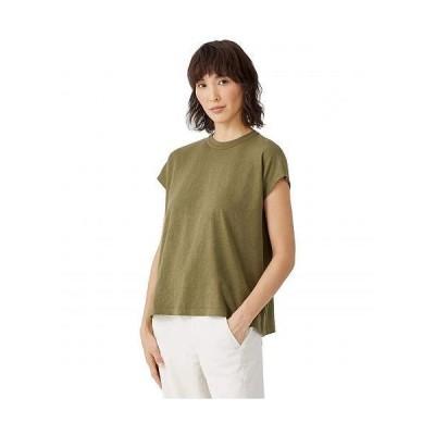 Eileen Fisher アイリーンフィッシャー レディース 女性用 ファッション Tシャツ Slubby Organic Cotton High Crew Neck Boxy Top - Olive