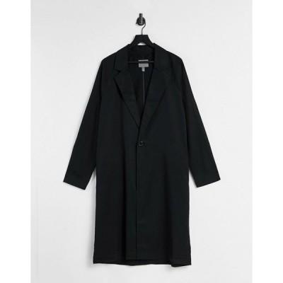 エイソス ジャケット メンズ ASOS DESIGN duster jacket in black エイソス ASOS ブラック 黒