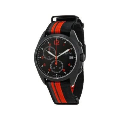 ハミルトン Pilot Pioneer クロノグラフ ブラック ダイヤル ブラック キャンバス メンズ 腕時計 H76582933