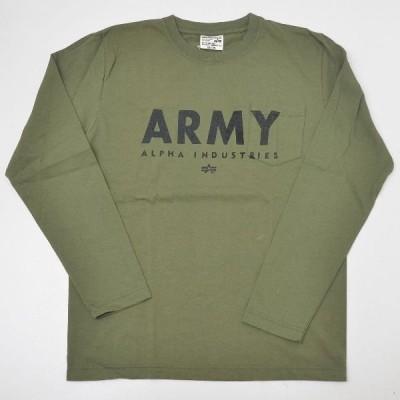 Alpha アルファ 23314-021 ARMY プリント長袖 ポケットTシャツ アーミーグリーン M