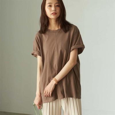 GeeRA 【WEB限定】綿100%ゆったりセンターシームTシャツ ブラウン M レディース