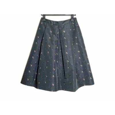 エムズグレイシー M'S GRACY スカート サイズ40 M レディース 美品 黒×ダークブラウン×ベージュ 刺繍【中古】20200616