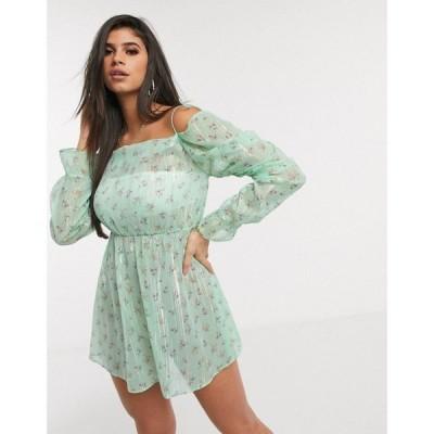 エイソス ASOS DESIGN レディース ワンピース ワンピース・ドレス fallen shoulder lurex chiffon beach dress in apple green ditsy floral print