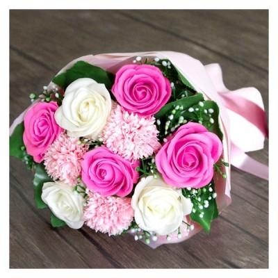 ソープフラワー花束 ブーケ バラ カーネーション ひまわり アートフラワー アレンジメント 誕生日 記念日 ギフト