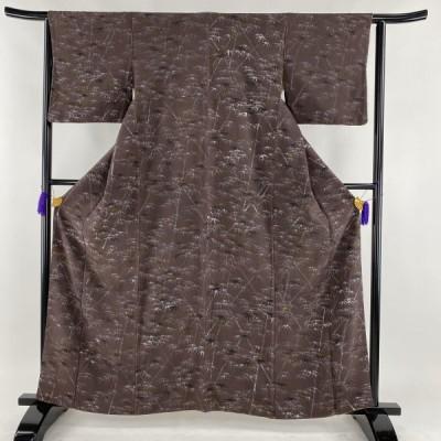 小紋 秀品 一方付小紋 竹 紫 袷 身丈161.5cm 裄丈62cm S 正絹 【中古】