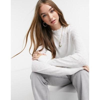 ノーバディーズ チャイルド レディース ニット&セーター アウター Nobody's Child fitted sweater with pointelle detail White
