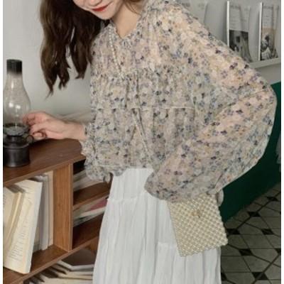 韓国 ファッション レディース ブラウス トップス 花柄 フリル シースルー 透け感 長袖 上品 ゆったり レトロ フェミニン カジュアル 大