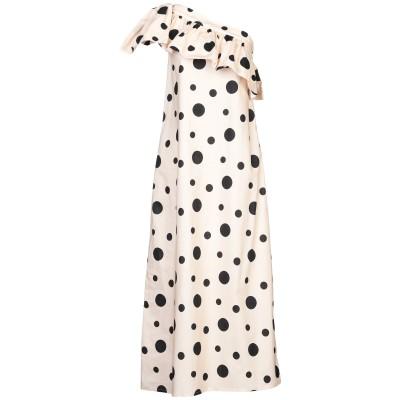WEILI ZHENG ロングワンピース&ドレス ベージュ M コットン 100% ロングワンピース&ドレス