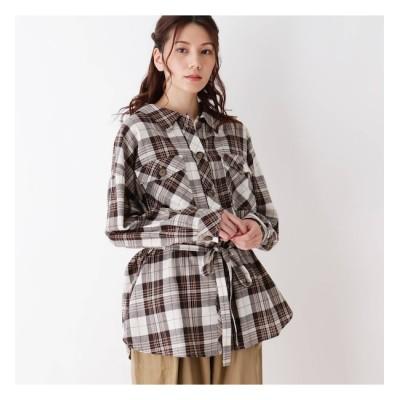 【シューラルー/SHOO・LA・RUE】 【S-L】2WAYベルテッドチェックネルシャツ