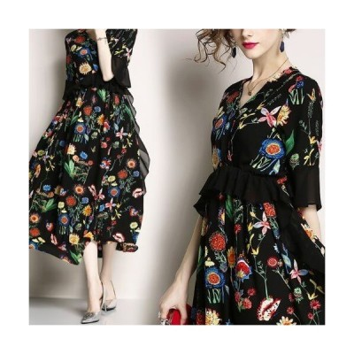 レディース ワンピース きれいめ ドレス 40代 上品 シフォン パーティー 大きいサイズ 花柄 Vネック お洒落 およばれ Aライン 七分袖 ミモレ丈