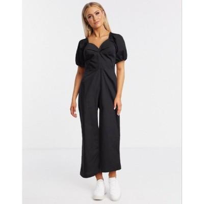 モンキ レディース ワンピース トップス Monki Nala organic cotton short puff sleeve jumpsuit in black Black