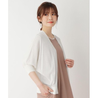 【ピンクアドベ】 シアー ドルマンカーディガン レディース オフホワイト 40(L) pink adobe
