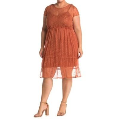 ヴェロモーダ レディース ワンピース トップス Lace Tiered Dress (Plus Size) AUBURN