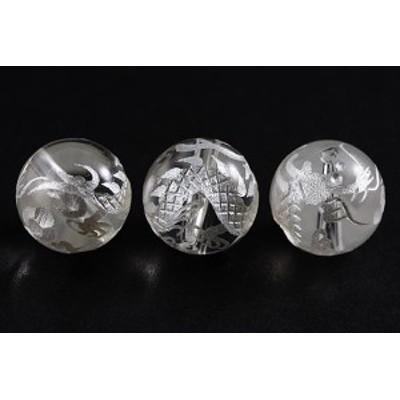 天然石 ビーズ【彫刻ビーズ】水晶 10mm (白彫り) 白龍 (五爪龍) パワーストーン