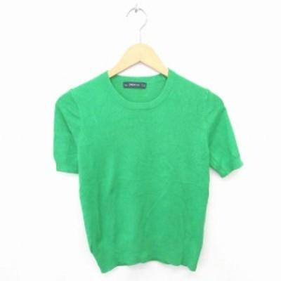 【中古】ザラ ZARA ニット セーター 丸首 無地 シンプル 半袖 M 緑 グリーン /TT16 レディース