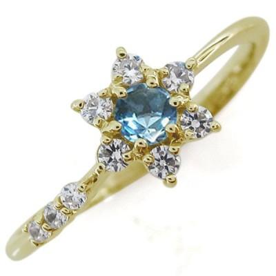 結婚記念日 ブルートパーズリング 結婚10周年 流れ星 K18 指輪
