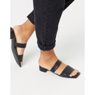 モンキ レディース サンダル シューズ Monki Julie square toe double strap PU sandals in black