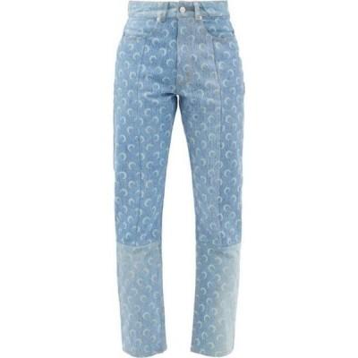 マリーン セル Marine Serre レディース ジーンズ・デニム ボトムス・パンツ Logo-print recycled-cotton straight-leg jeans Blue
