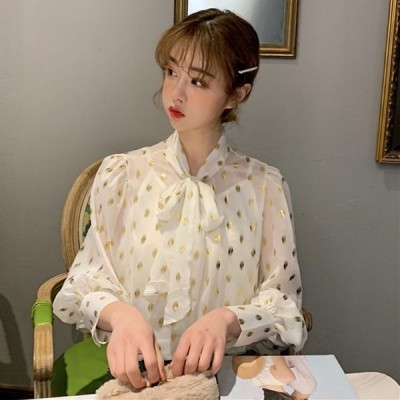 レディースボータイブラウスシースルーブラウス水玉チュールブラウスカットソートップスパフスリーブ長袖透け感可愛い