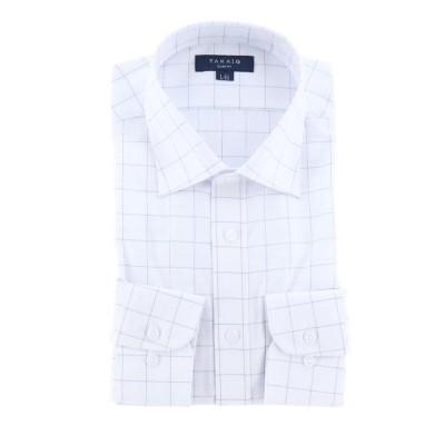 【タカキュー】 形態安定抗菌防臭スリムフィット ワイドカラー長袖ビジネスドレスシャツ/ワイシャツ メンズ ホワイト L:41-82 TAKA-Q