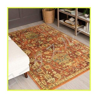 Mohawk Home Prismatic Stamford Traditional Distressed Floral Precision Printed Area Rug, 5'x8', Orange and Brown 並行輸入品