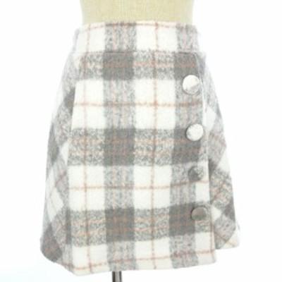 【中古】未使用品 リズリサ LIZ LISA スカート チェック 台形 ひざ丈 ラップ風 グレー 白 ホワイト 0 レディース