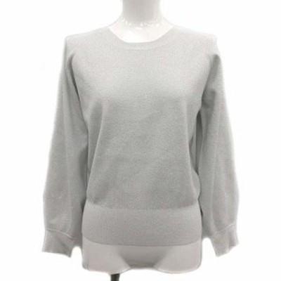【中古】ベイジ BEIGE 21SS セーター ニット クルーネック 長袖 ラメ 小さいサイズ 32 XS 白 シルバー /YM レディース