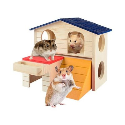 Hamster House Pet Small Animal Wooden Hut with Food Trough Hamster Toys Dec