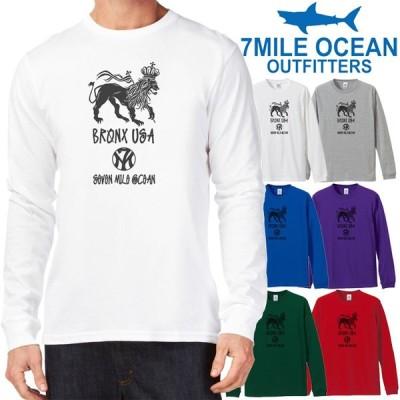 メンズ Tシャツ 長袖 ロングTシャツ ロンt プリント アメカジ 大きいサイズ 7MILE OCEAN ストリート NY