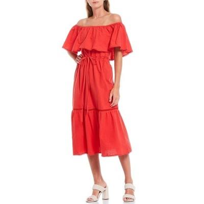 ルーシーパリ レディース ワンピース トップス Off-The-Shoulder Popover Midi Dress Red