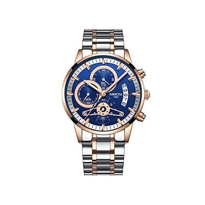 メンズ 高級腕時計 クロノグラフ 防水 ファッション ビジネス スポーツ クォーツ腕時計 ステンレススチール ローズゴールド ブルー メンズ